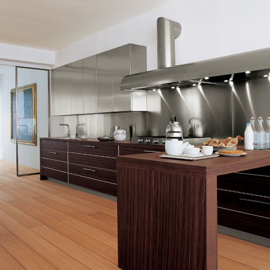 Stainless steel splashbacks linear kitchen designs for Stainless steel kitchen designs