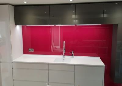 Pink glass splashback 1