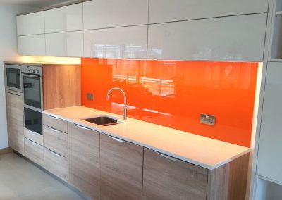 orange glass splashback