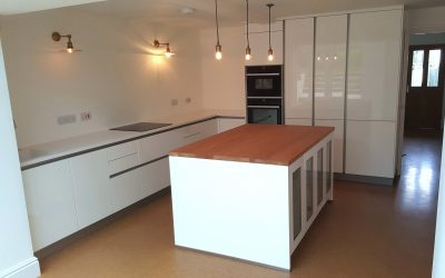 Handleless white kitchen