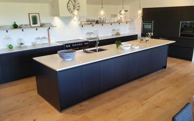 Striking Black Kitchen with Spectacular Views
